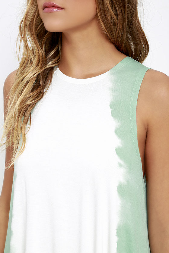 RVCA Sucker Punched Sage Green Tie-Dye Swing Dress 5