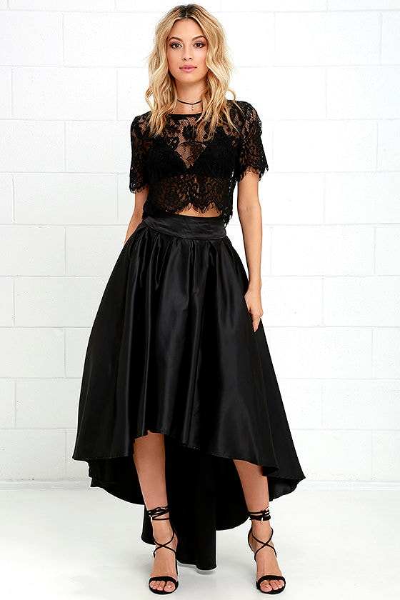 Lovely Black Skirt - Satin Skirt - High-Low Skirt - $93.00