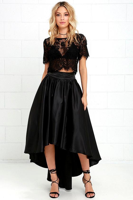 Lovely Black Skirt - Satin Skirt - High-Low Skirt - $93.00