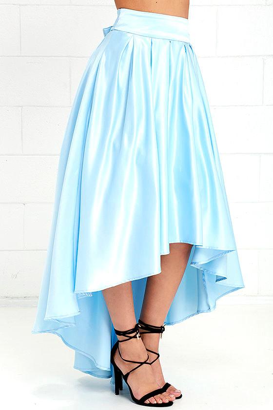 lovely light blue skirt satin skirt high low skirt
