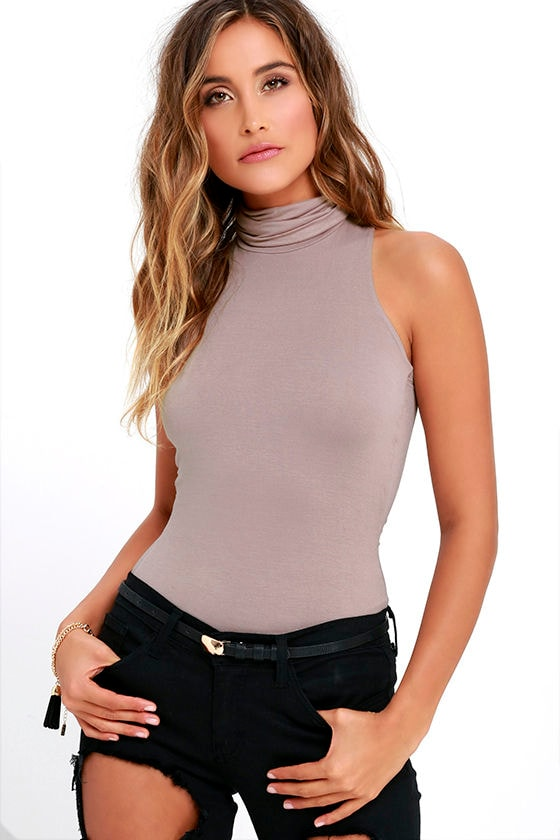 Alive and Kicking Taupe Sleeveless Turtleneck Top 1