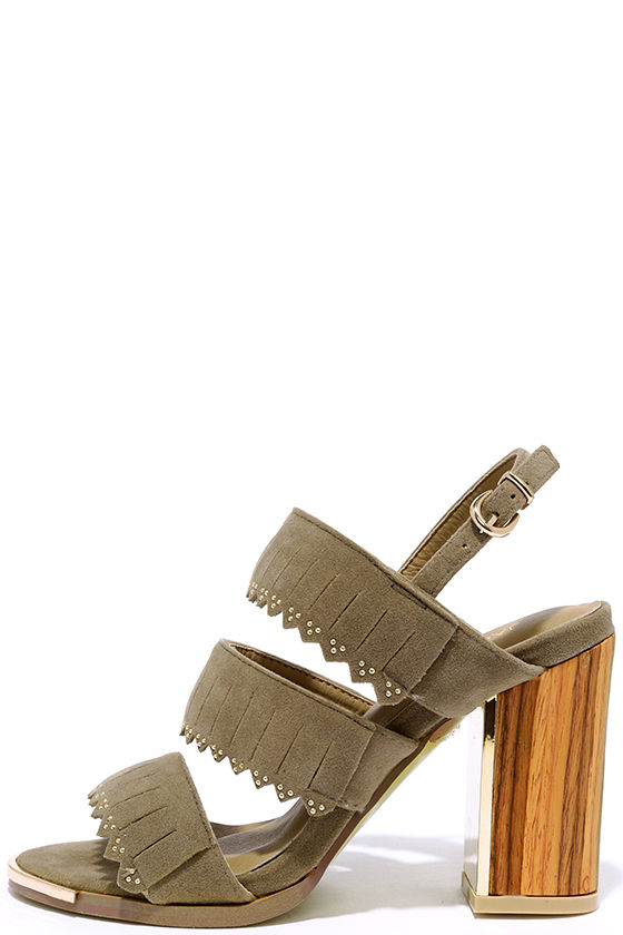 Wood Nt Ya Know Taupe Suede High Heel Sandals