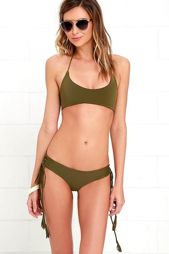 a7c43ef275908 Kaohs Gypsy - Olive Green Bikini Top - Halter Bikini -  88.00