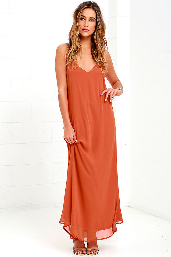 Lovely Orange Dress - Maxi Dress - Shift Dress - $49.00
