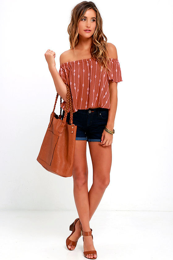 d3e40e4838d1e7 Off-the-Shoulder Top - Embroidered Top - Burnt Orange Top -  38.00