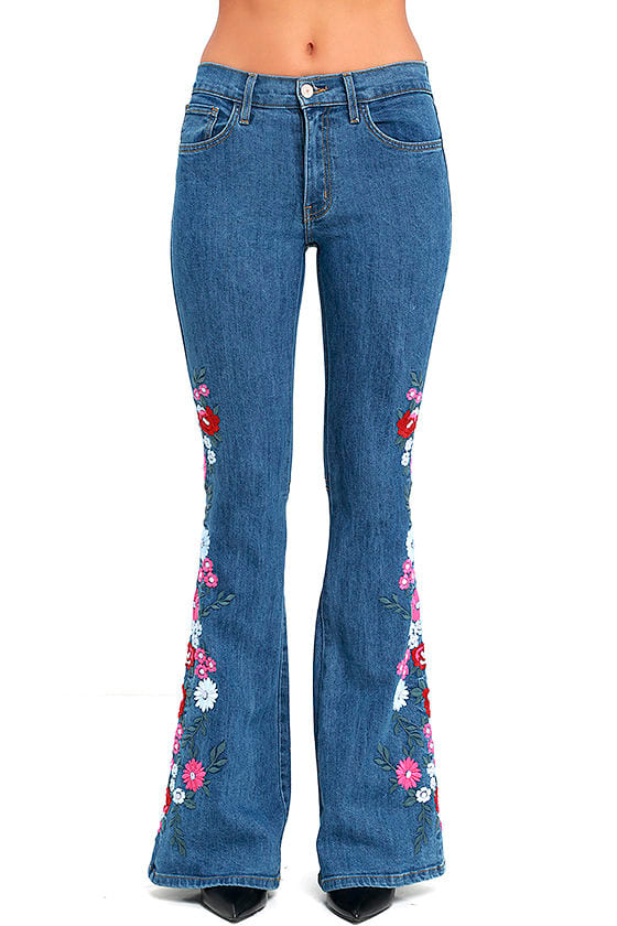 Embroidered Jeans  Flare Jeans  Medium Wash Jeans  8900