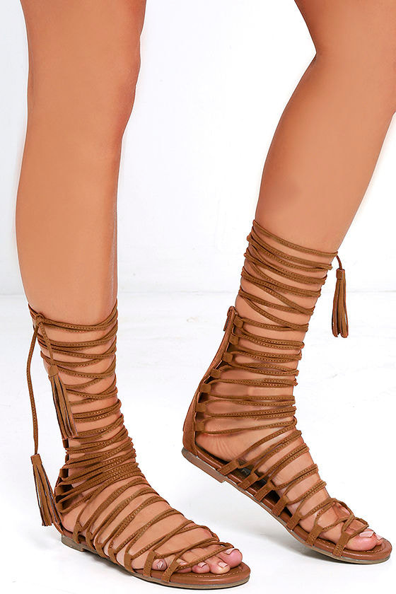 200675a21a3 Cute Tan Sandals - Lace-Up Sandals - Vegan Suede Sandals -  31.00