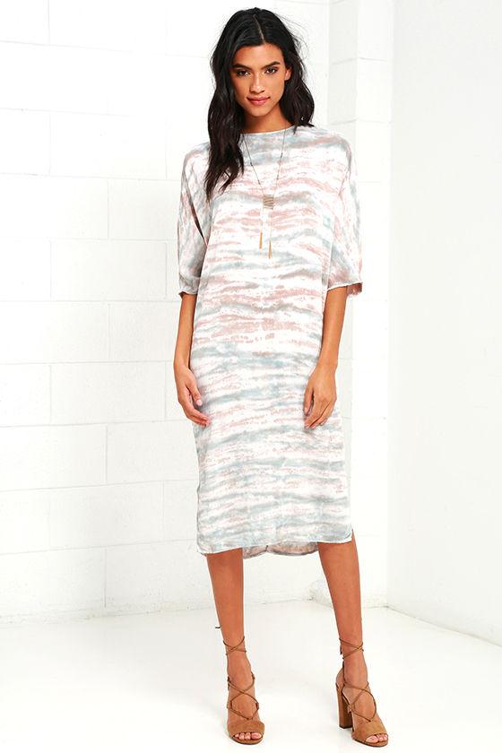 South Beach Taupe Tie-Dye Midi Dress
