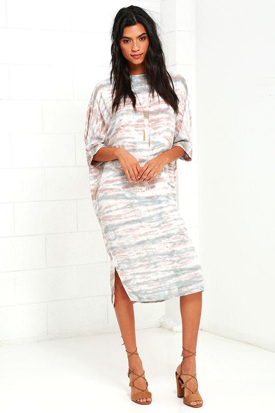 d9f3cecfa9a2 Cute Tie-Dye Dress - Taupe Print Dress - Shift Dress - $45.00