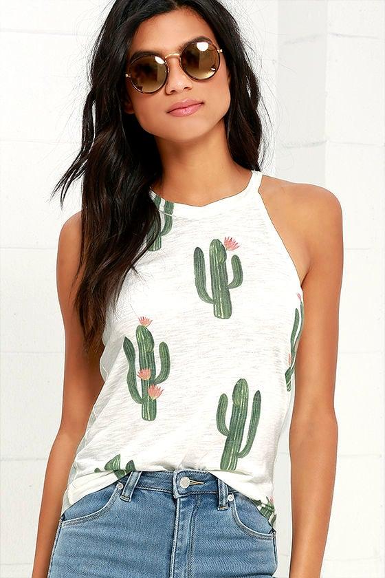454a3a369a5b2 Brokedown Cactus - Tank Top - Cactus Print Top -  62.00