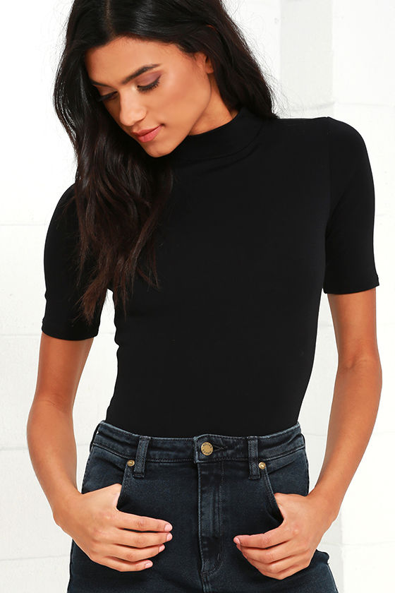 0ff7d1a25e3f Black Bodysuit - Short Sleeve Top - Mock Neck Top - $28.00
