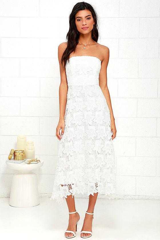 BB Dakota Eleanor - Strapless Dress - Ivory Lace Dress - Midi ...