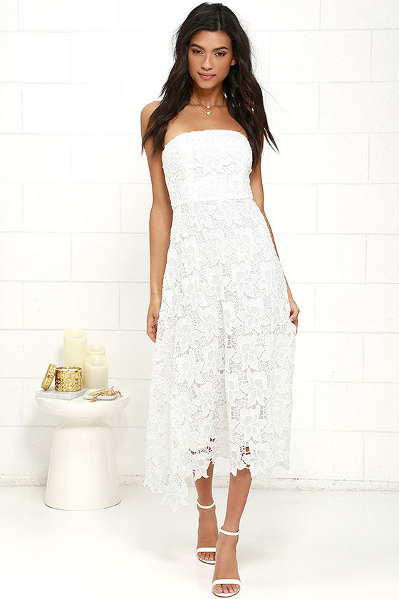BB Dakota Eleanor - Strapless Dress - Ivory Lace Dress - Midi Dress -   111.00 efca74fce