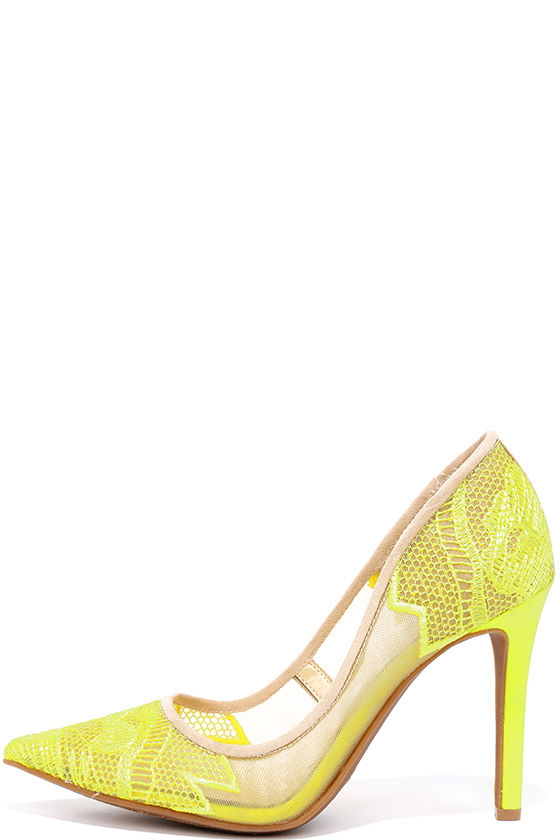 038d057825 Jessica Simpson Camba - Electric Yellow Pumps - Lace Pumps - $85.00