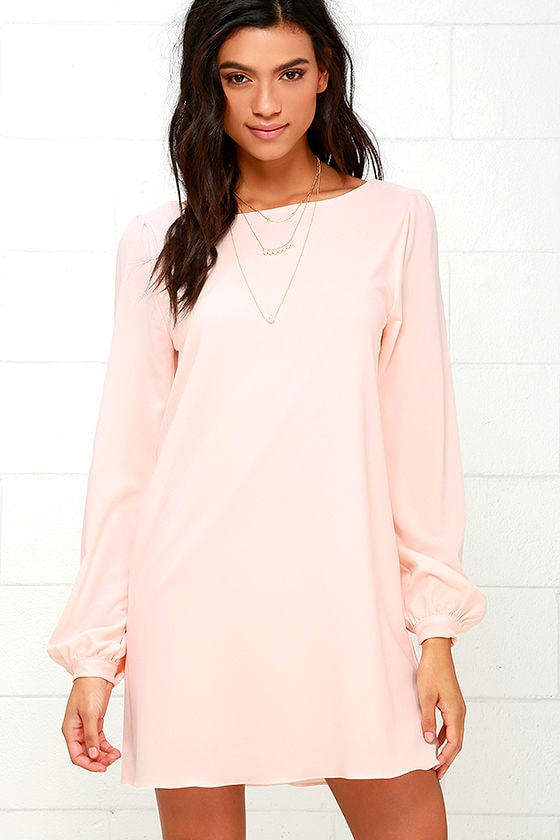 Cute Blush Pink Dress - Shift Dress - Long Sleeve Dress - $38.00
