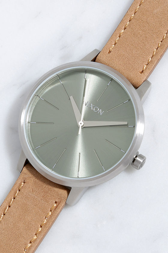 Nixon Kensington Leather Saddle and Sage Watch 1