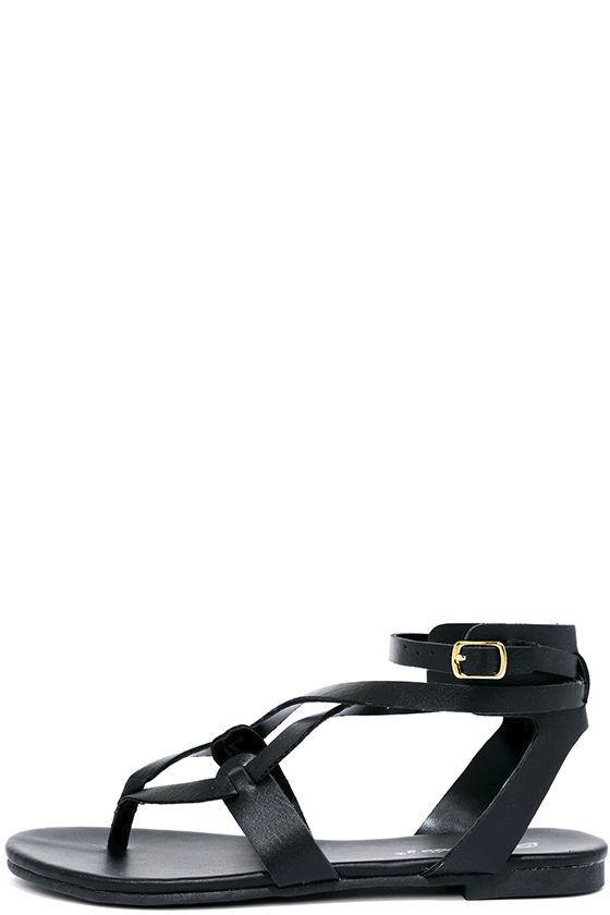 add9d4eb1e1 Cool Black Sandals - Thong Sandals - Gladiator Sandals -  19.00