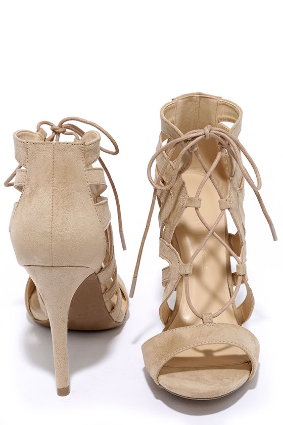 Beige Lace-Up Heels - Caged Heels - Peep-toe Heels - $35.00