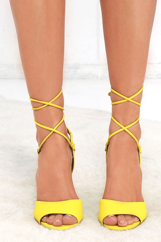 Cute Yellow Heels - Leather Heels - Lace-Up Heels - $109.00