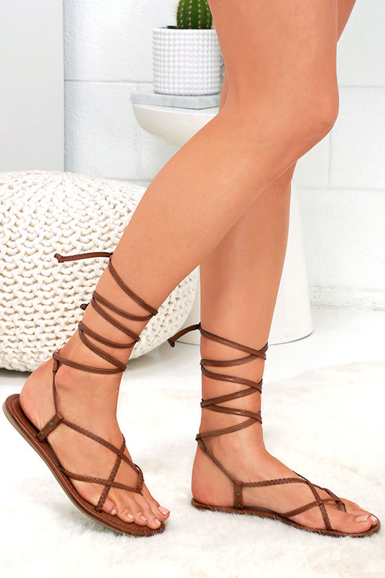 Cute Brown Sandals - Lace-Up Sandals - Vegan Leather Sandals -  39.00 2d998d00b
