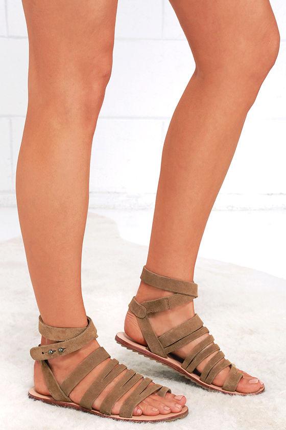 1db8caceaad4 Cute Beige Sandals - Suede Sandals - Flat Sandals - Galdiators -  70.00