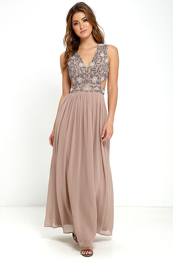 cc15c2a8857 TFNC Lace   Beads Vera - Taupe Gown - Sequin Gown -  168.00