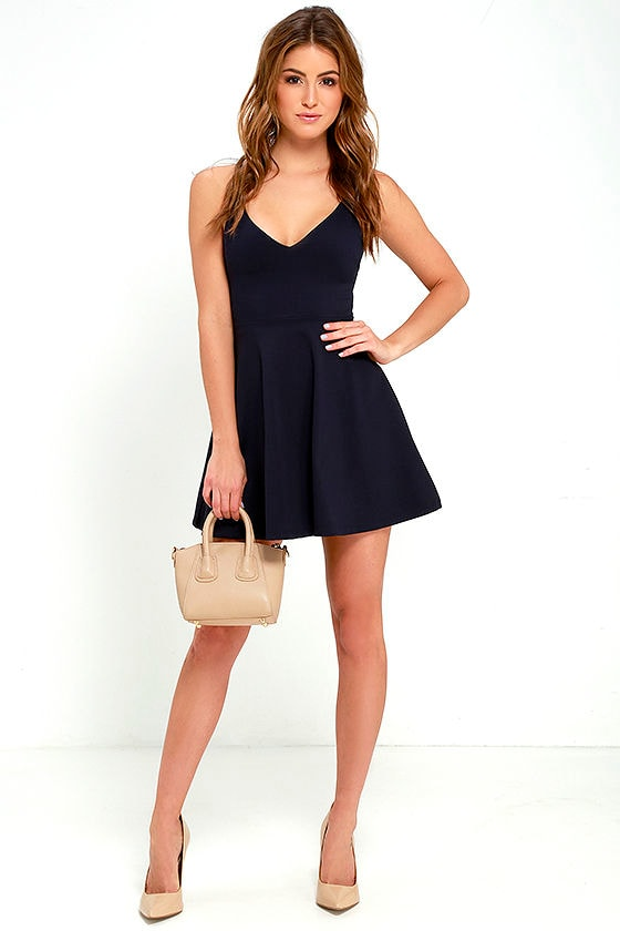 f500bf32a4d9e Cute Navy Blue Dress - Skater Dress - Fit-and-Flare Dress - $54.00