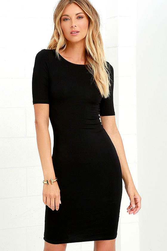 Cute Black Dress - Short Sleeve Dress - Bodycon Dress - $36.00