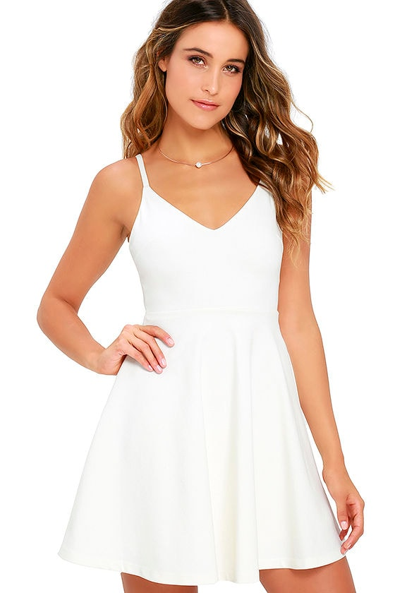 Cute White Skater Dress - LWD - Homecoming Dress - $54.00