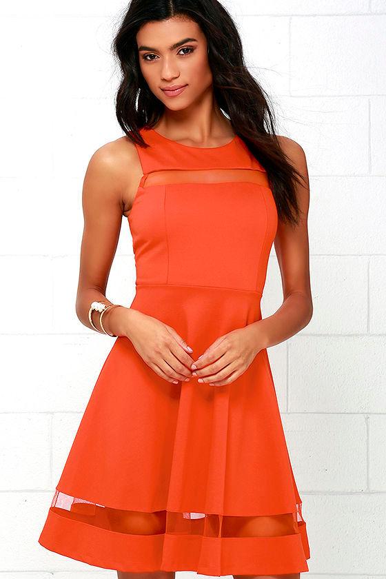 dca79420da48 Cute Orange Dress - Skater Dress - Mesh Dress -  54.00