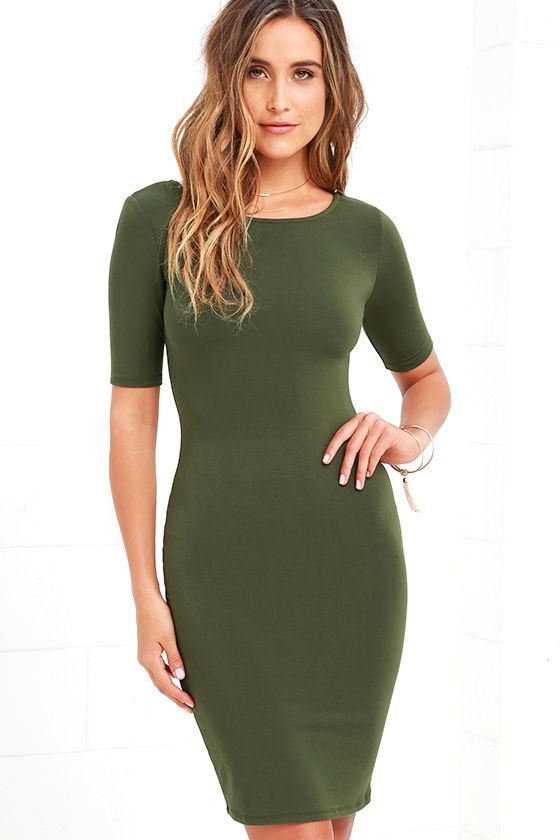 Cute Olive Green Dress - Short Sleeve Dress - Bodycon Dress - $36.00