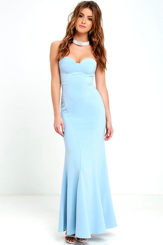 Light Blue Gown - Strapless Dress - Bustier Dress - Maxi Dress ...