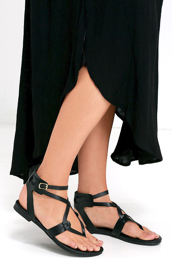 Boho Babe Black Thong Sandals 2