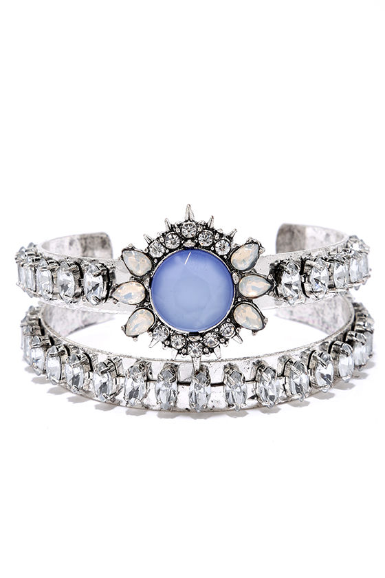 Temple of the Sun Silver and Blue Rhinestone Bracelet Set at Lulus.com!
