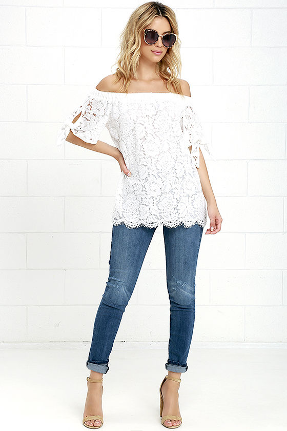 Ethereal View Ivory Lace Off-the-Shoulder Top 2