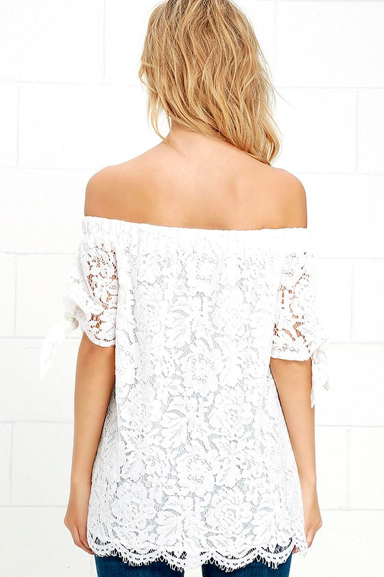 Ethereal View Ivory Lace Off-the-Shoulder Top 4