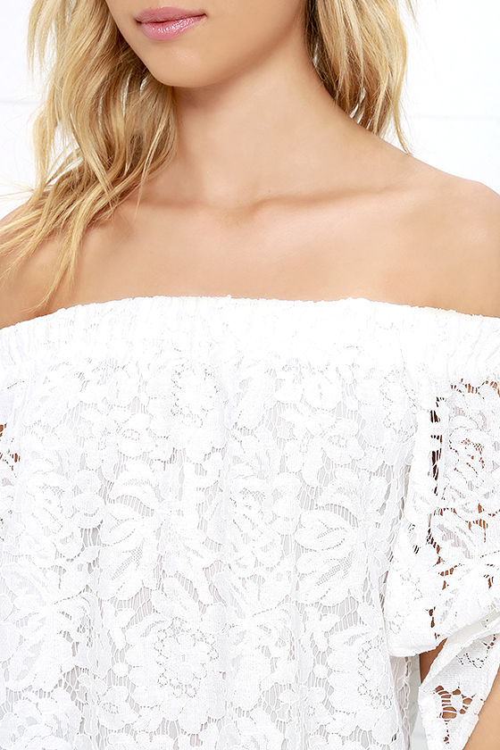 Ethereal View Ivory Lace Off-the-Shoulder Top 5