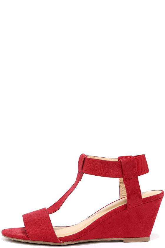 d811d9814dd Cute Red Wedge Sandals - Vegan Suede Sandals -  24.00