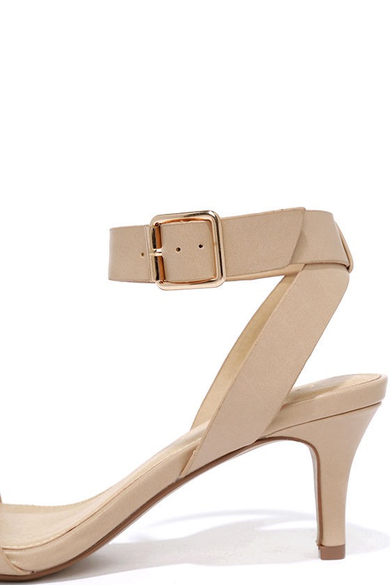 Cute Beige Heels - Kitten Heels - Ankle Strap Heels - $21.00