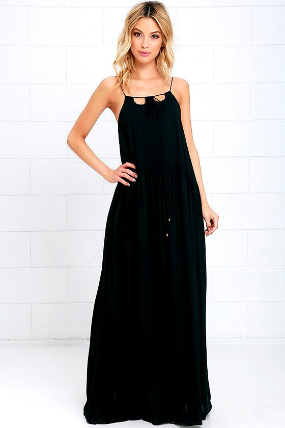Moon River Ease Into It Black Maxi Dress at Lulus.com!
