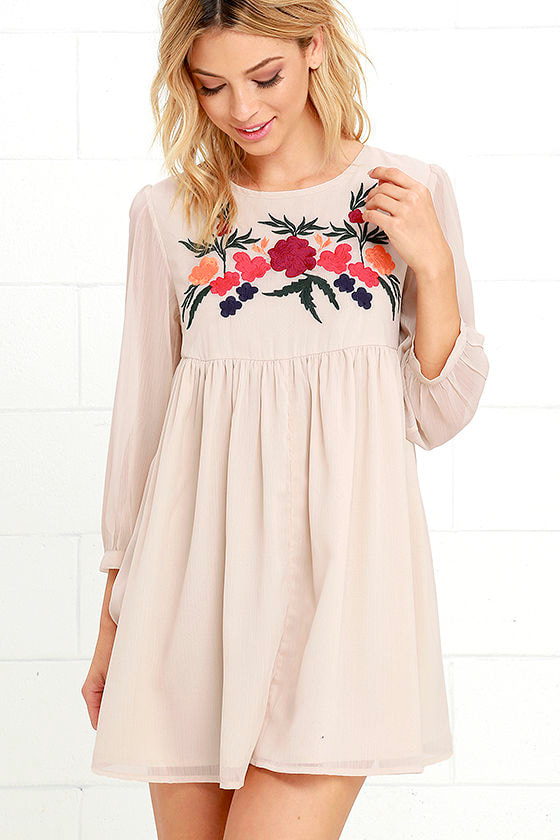 Pretty Beige Dress Babydoll Dress Embroidered Dress