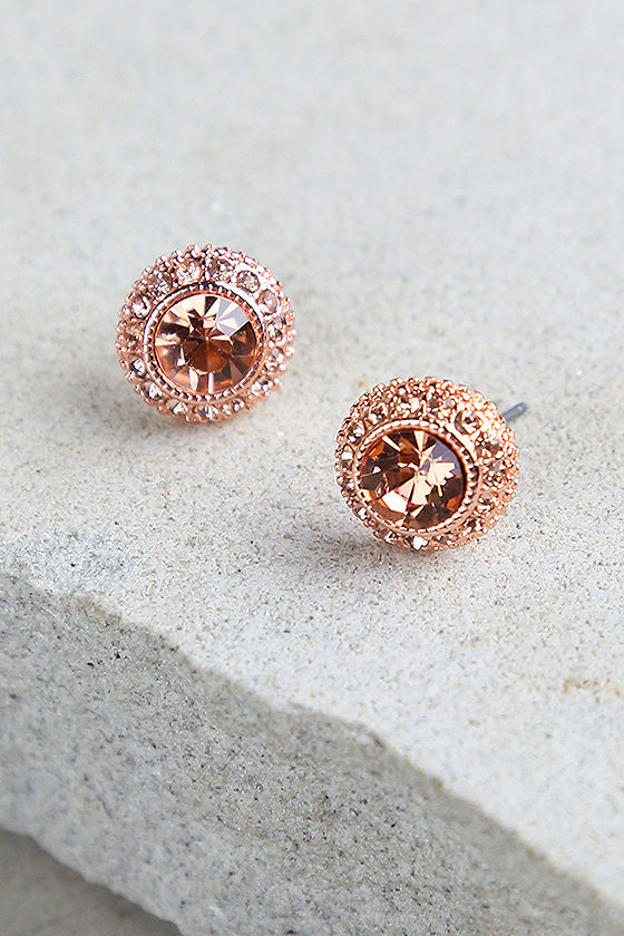 Rose Gold Earring 32ctw Round Champagne Diamond 10k Rose Gold