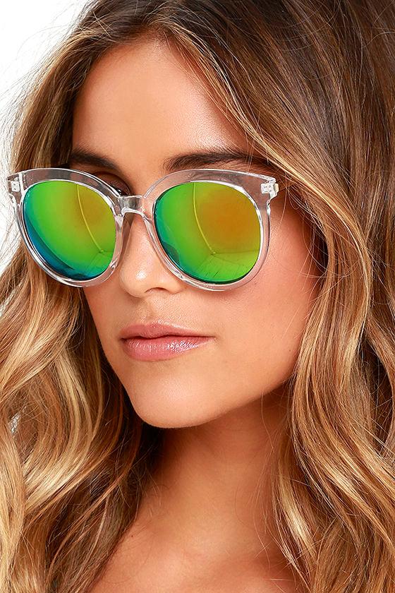 0944f83465e1 Chic Clear Sunglasses - Green Mirrored Sunglasses -  14.00