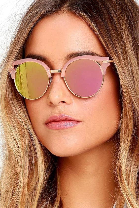 Cool Pink Sunglasses Mirrored Sunglasses Round
