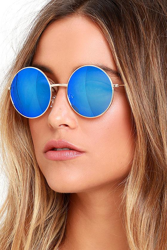 90759fa9027 Cool Round Sunglasses - Blue and Gold Sunglasses -  15.00
