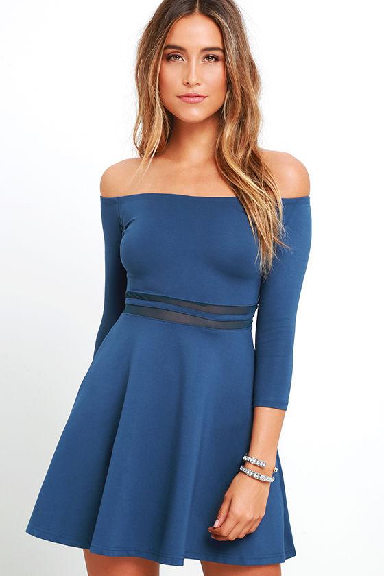 Cute Denim Blue Dress - Skater Dress - Mesh Dress - Off-the ...