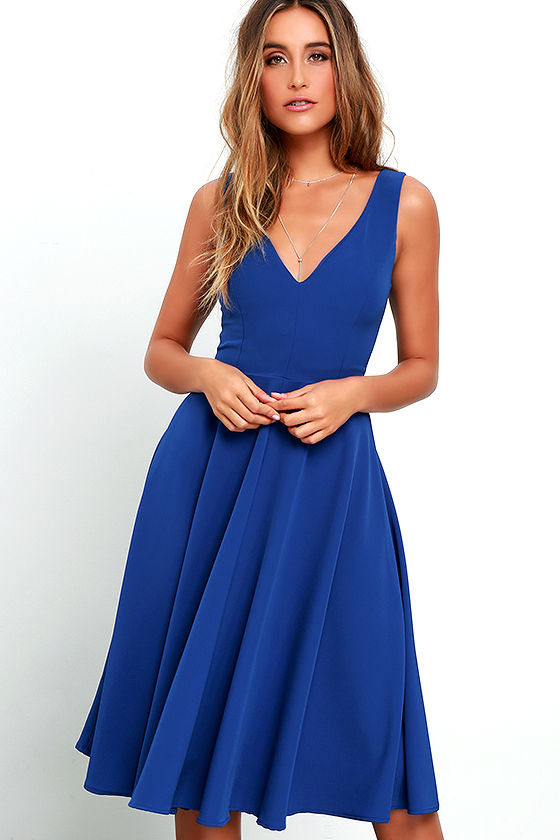 c1b51ca19442 Lovely Royal Blue Dress - Midi Dress - Sleeveless Dress -  49.00
