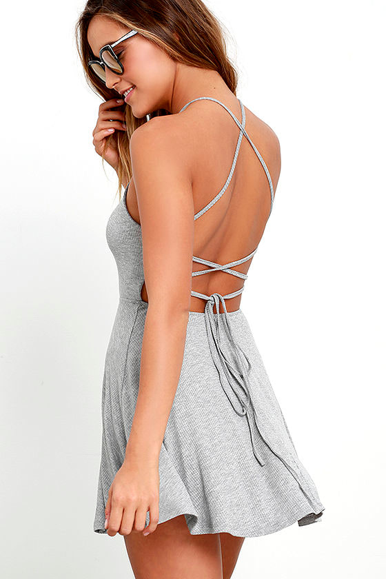 Cute Heather Grey Dress - Skater Dress - Lace-Up Dress - $38.00