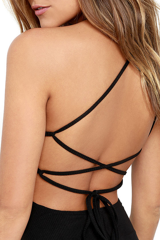 Tied Together Black Lace-Up Dress 5