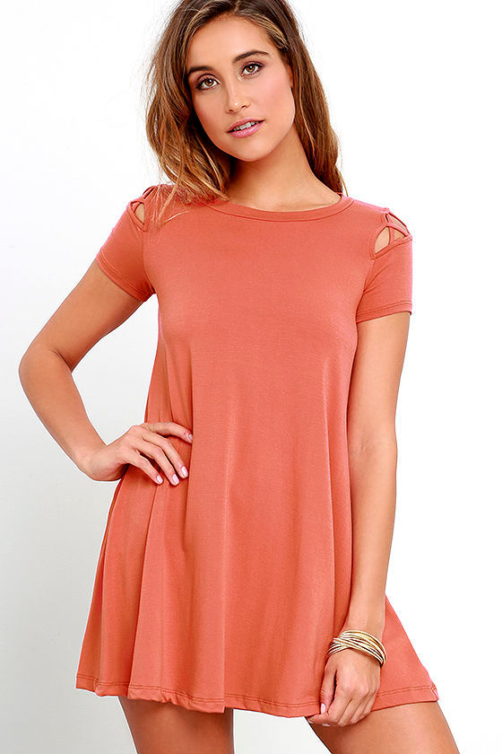 Cute Rust Red Dress - Swing Dress - Cutout Dress - $42.00